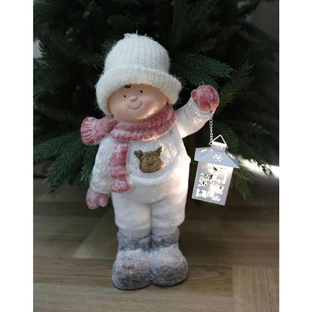 Mädchen oder Junge mit LED-Laterne und Strickmütze Dekofigur Winterkind Kinder – Bild 5