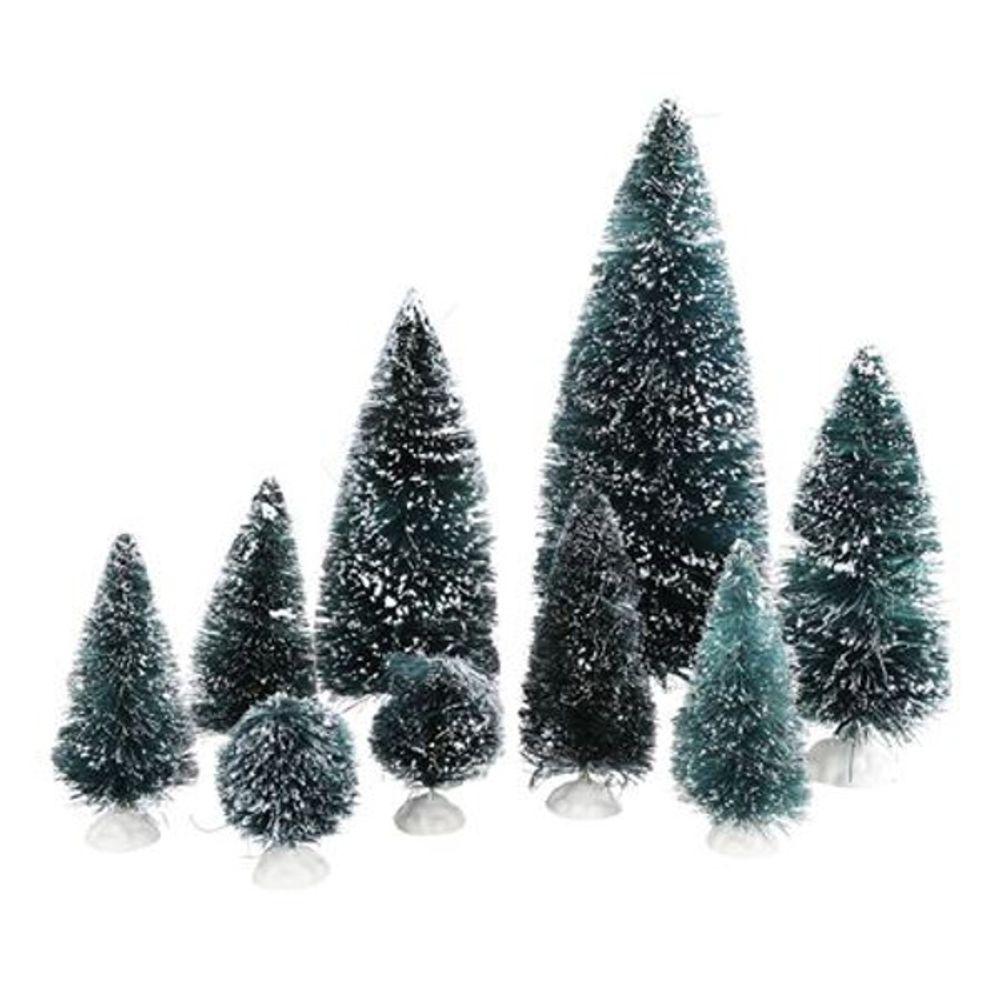 Dekotannen 9er-Set beschneit Tannenbaum Weihnachtsbaum Weihnachtsdeko Tischdeko