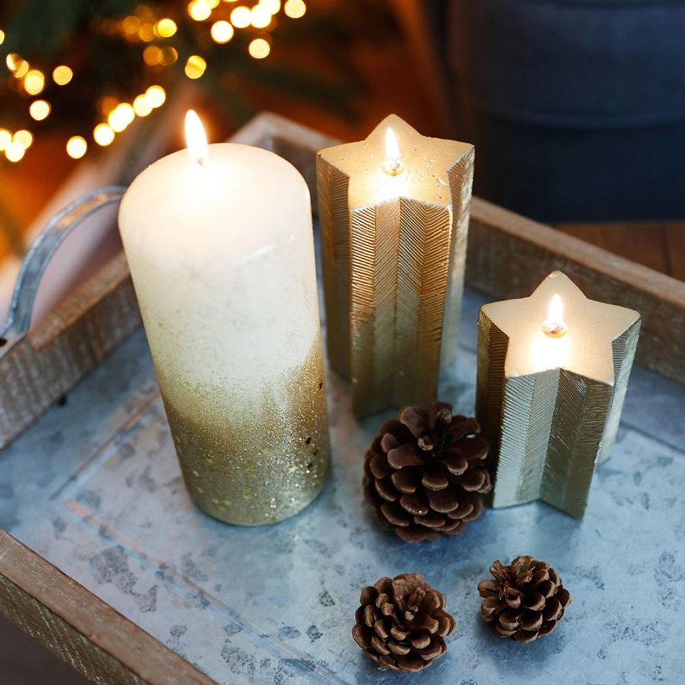 Weihnachtskerze Stern gold Adventskerze Stumpenkerze Wachskerze Dekokerze Kerze – Bild 4