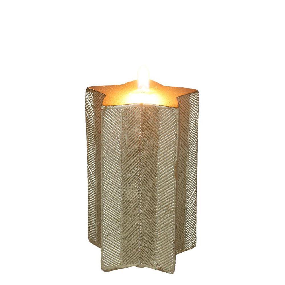 Weihnachtskerze Stern gold Adventskerze Stumpenkerze Wachskerze Dekokerze Kerze – Bild 2