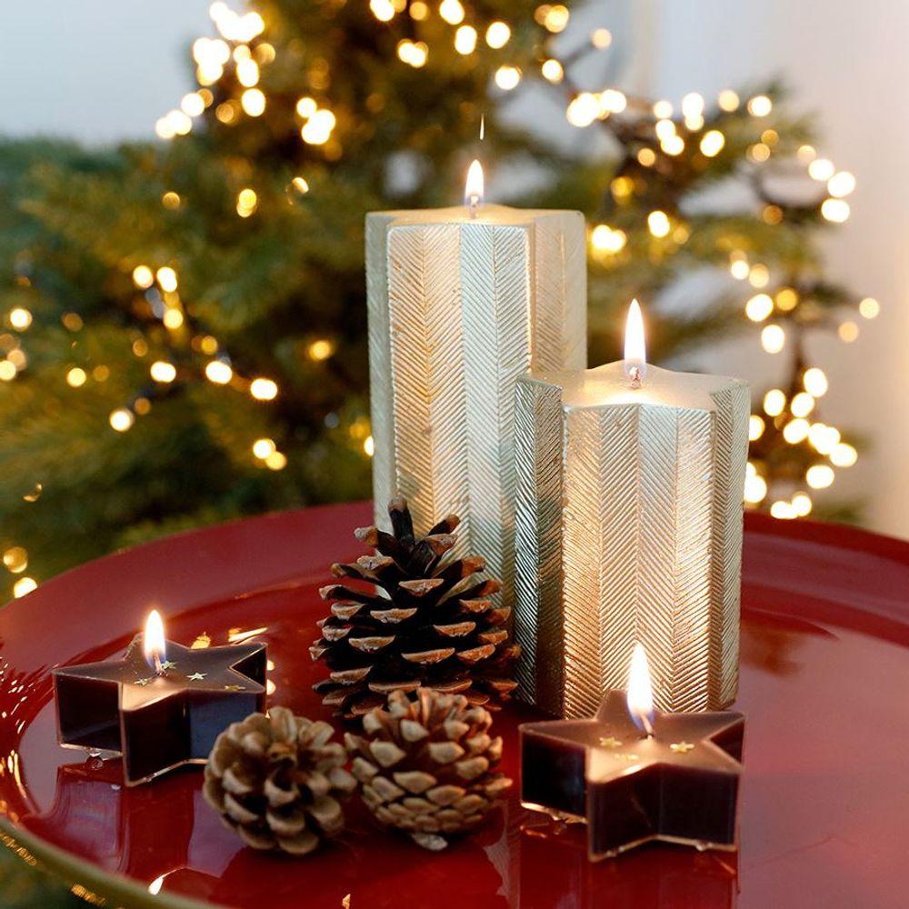 Weihnachtskerze Stern gold Adventskerze Stumpenkerze Wachskerze Dekokerze Kerze – Bild 1