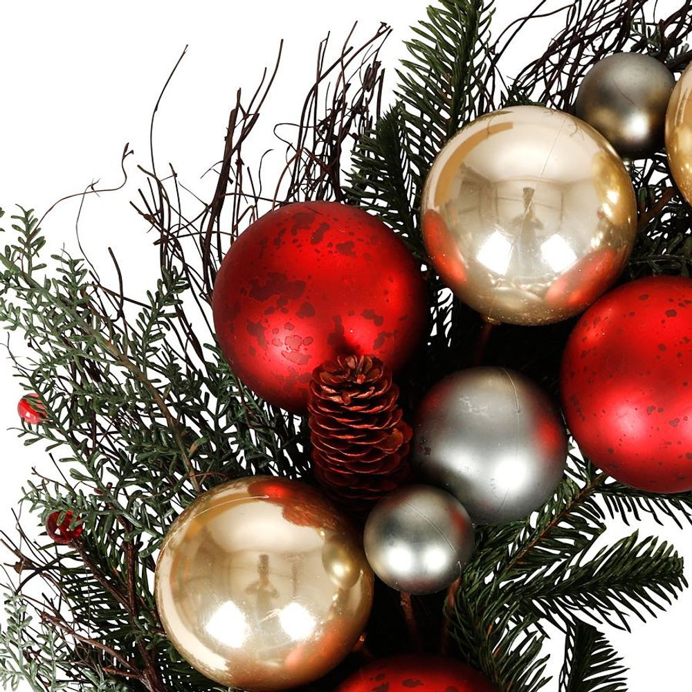 Weihnachts-Türkranz mit Kugeln 60cm Dekokranz Weihnachtsdeko Wanddeko Türdeko – Bild 2