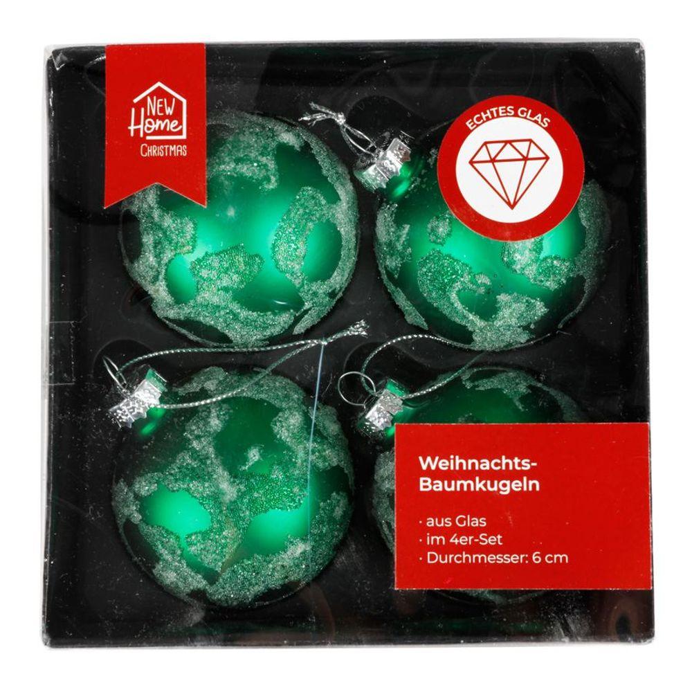 Glas-Weihnachtsbaumkugeln grün 4er-Set Christbaumschmuck Weihnachtsdeko 6cm  – Bild 1