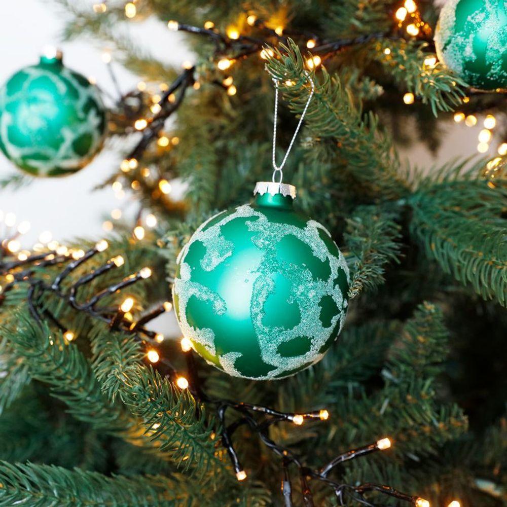 Glas-Weihnachtsbaumkugeln grün 6er-Set Christbaumschmuck Weihnachtsdeko 4cm  – Bild 2