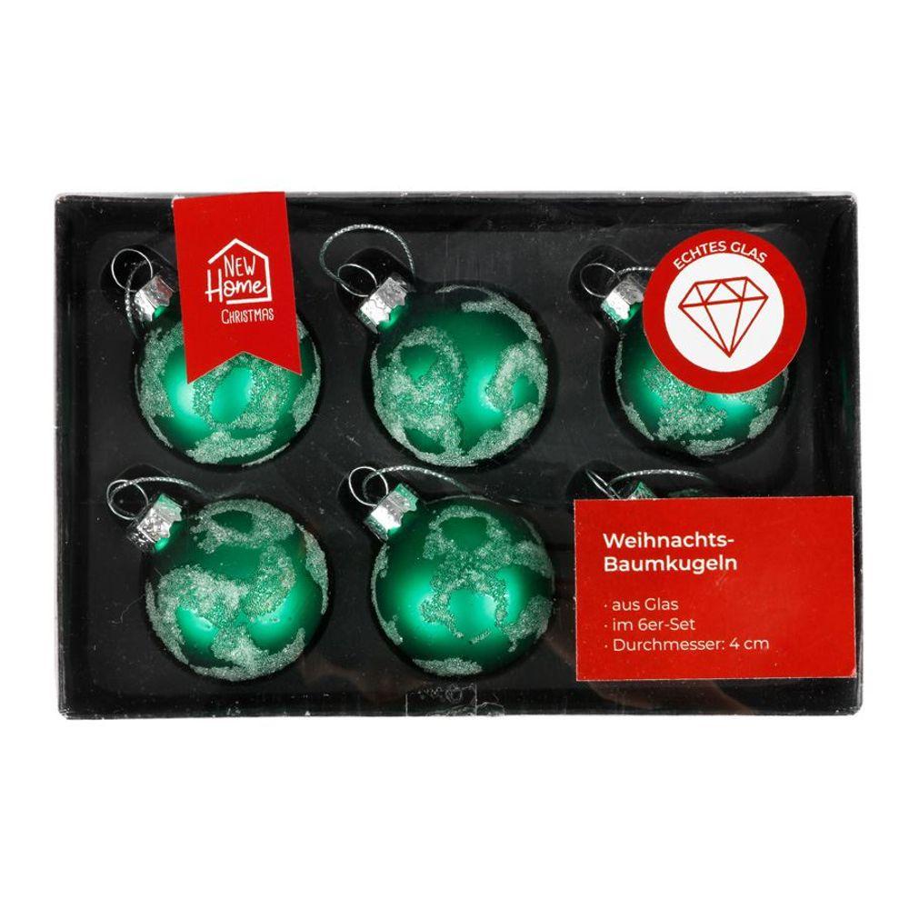 Glas-Weihnachtsbaumkugeln grün 6er-Set Christbaumschmuck Weihnachtsdeko 4cm  – Bild 1