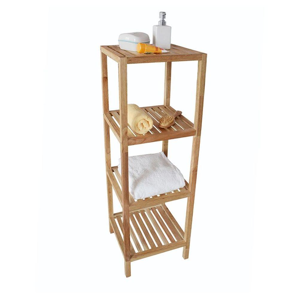 Regal mit 4 Ablagen aus Walnussholz Badzimmerregal Handtuchregal Küchenregal