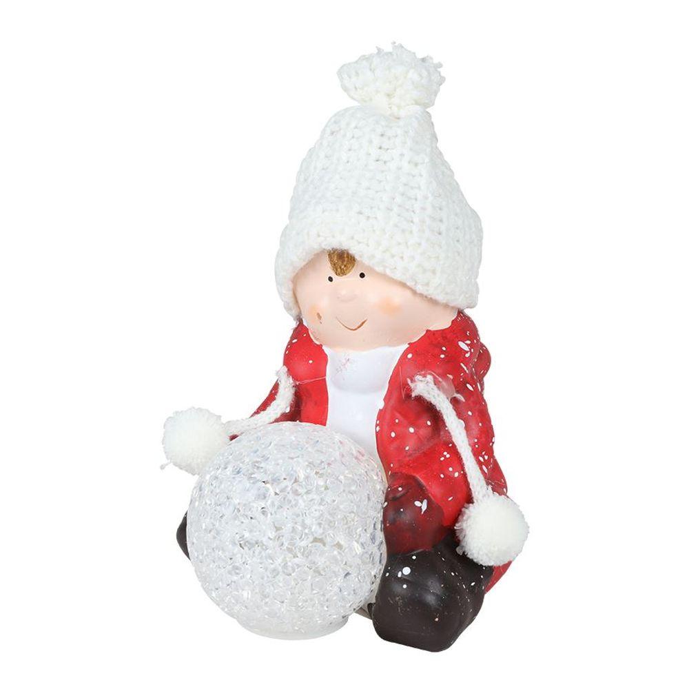 Keramik-Kinderfigur sitzend mit LED-Schneeball Dekofigur Weihnachtsdeko warmweiß – Bild 2