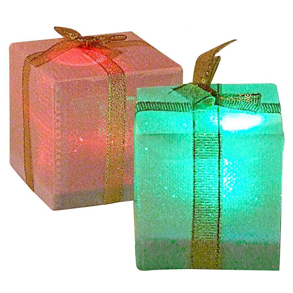 LED-Geschenkpäckchen mit Farbwechsler 5cm Weihnachtsdeko Tischdeko Päckchen  – Bild 2