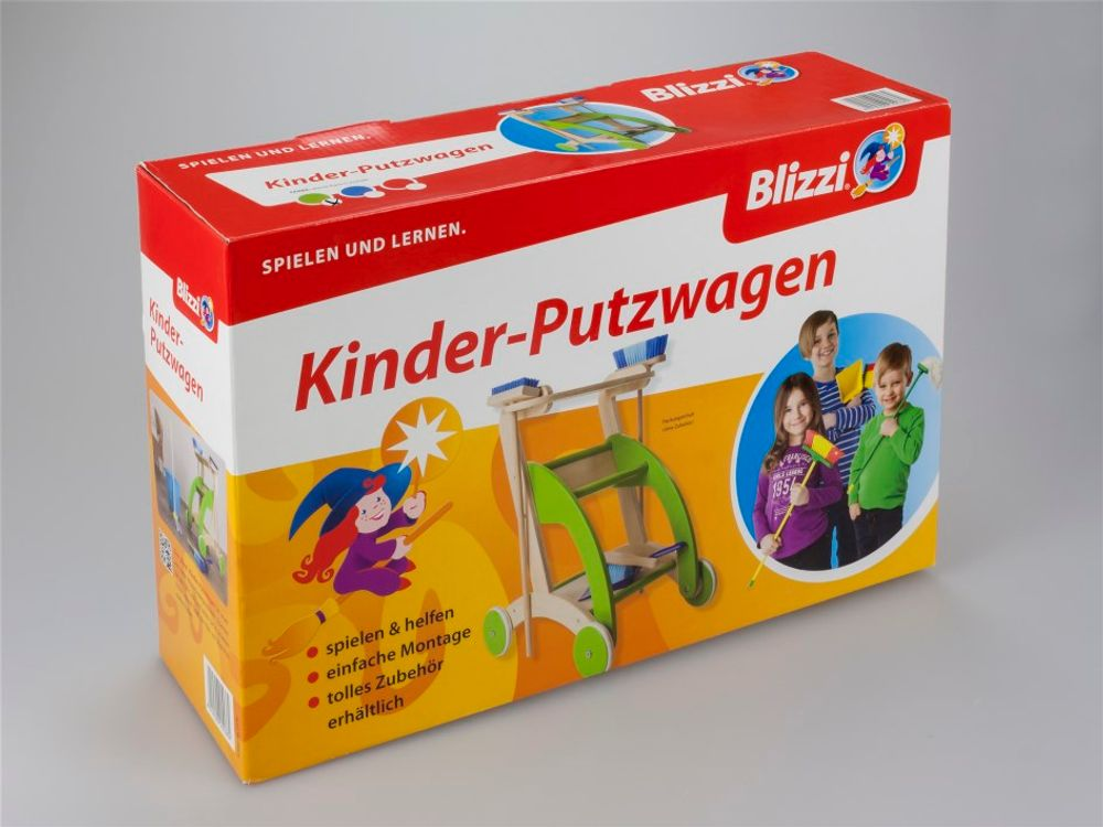 Blizzi Holz Kinder Spielzeug Putzwagen mit Besen Handfeger Ziehwagen Trolley – Bild 12