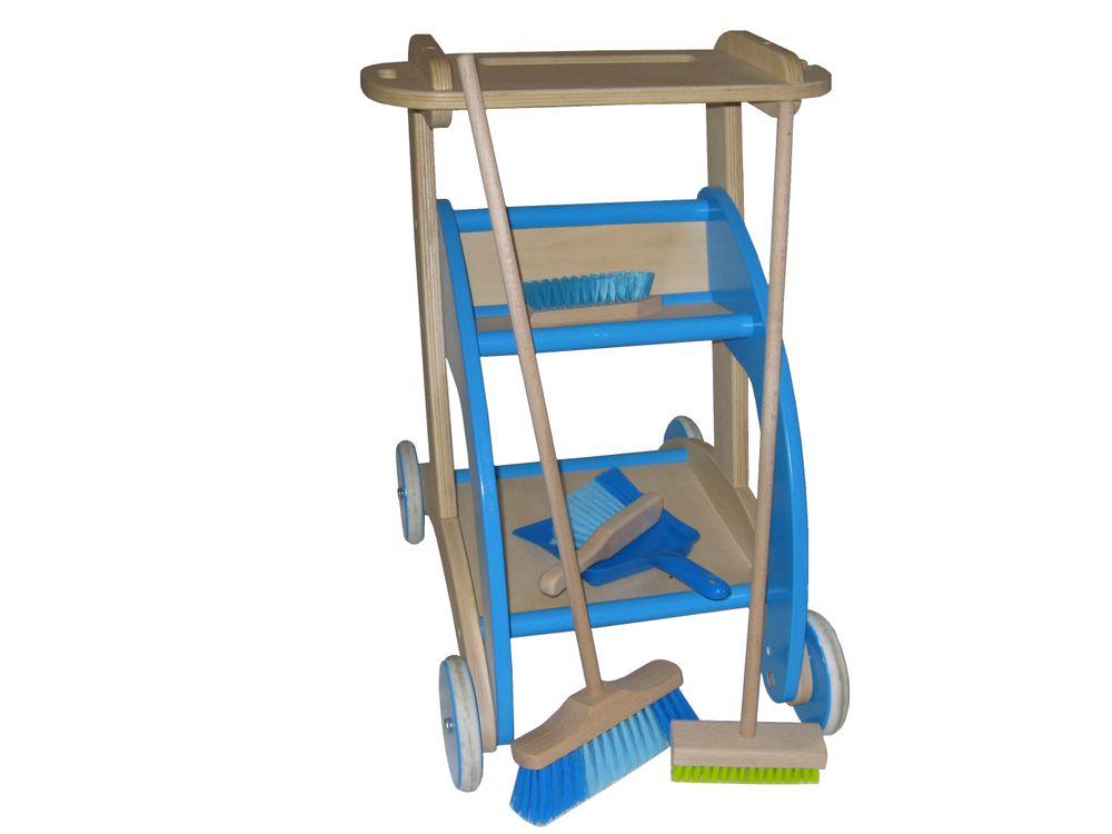 Blizzi Holz Kinder Spielzeug Putzwagen mit Besen Handfeger Ziehwagen Trolley – Bild 8