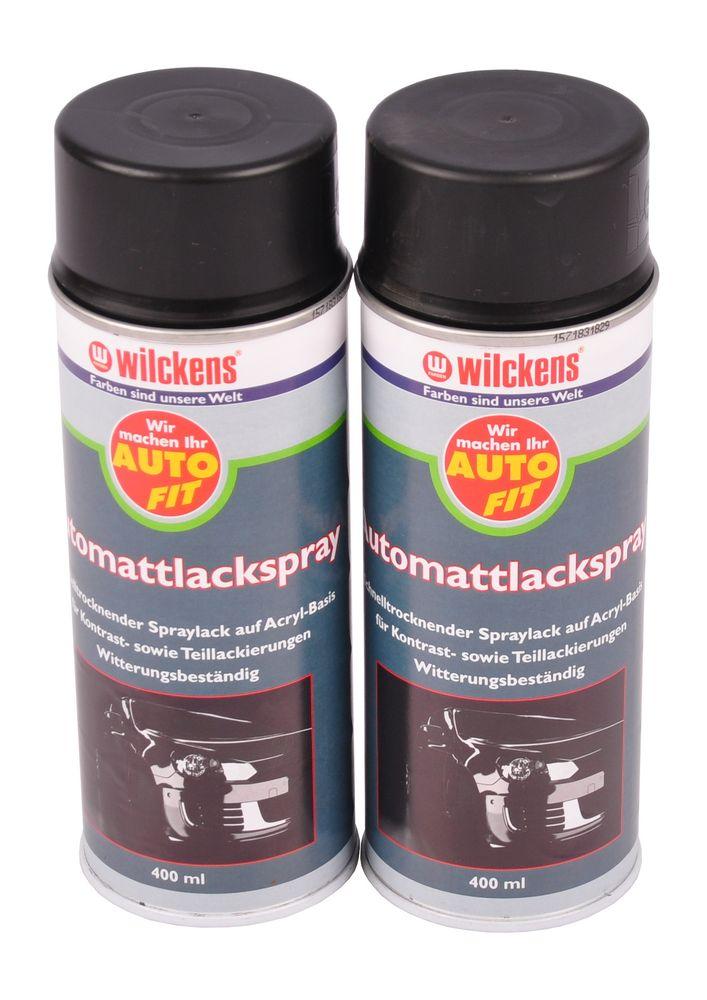 2x 400 ml Wilckens Acryl Spray matt schwarz Lackspray Autolack Auto Sprühlack – Bild 1