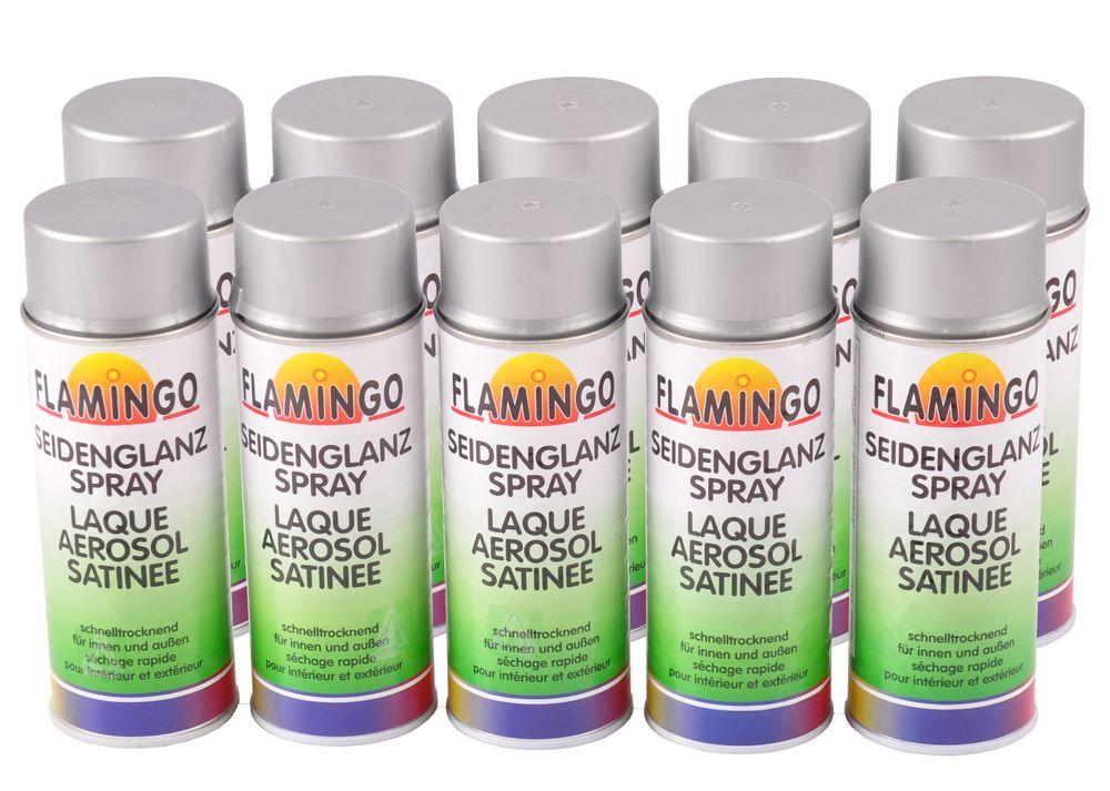 10x Flamingo Kunstharz-Lackspray Silber matt 400ml Farbspray Sprühdose – Bild 1