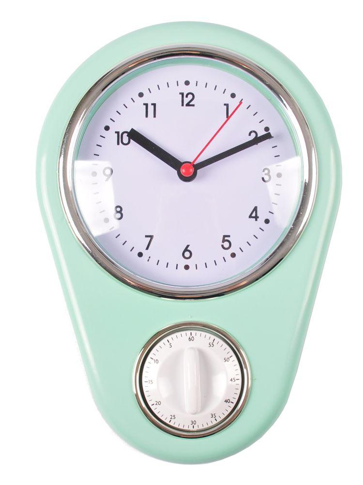 Retro Küchenuhr Mint mit Timer Wanduhr Kurzzeitmesser Eieruhr Küchentimer Uhr  – Bild 1