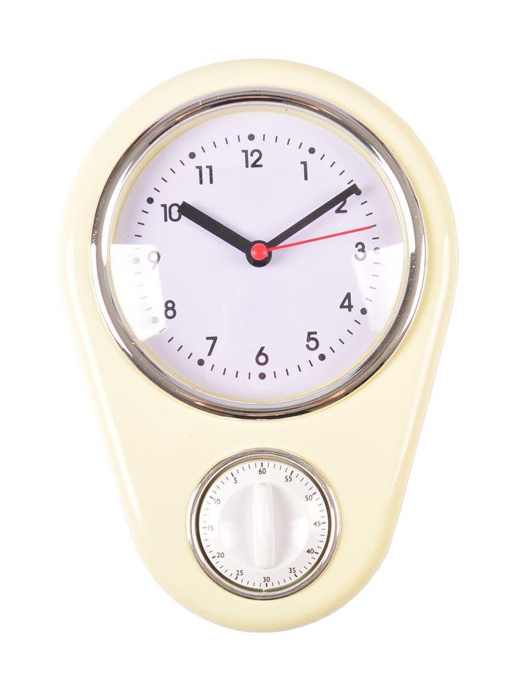 Retro Küchenuhr Vanille mit Timer Wanduhr Kurzzeitmesser Eieruhr Küchentimer Uhr – Bild 1