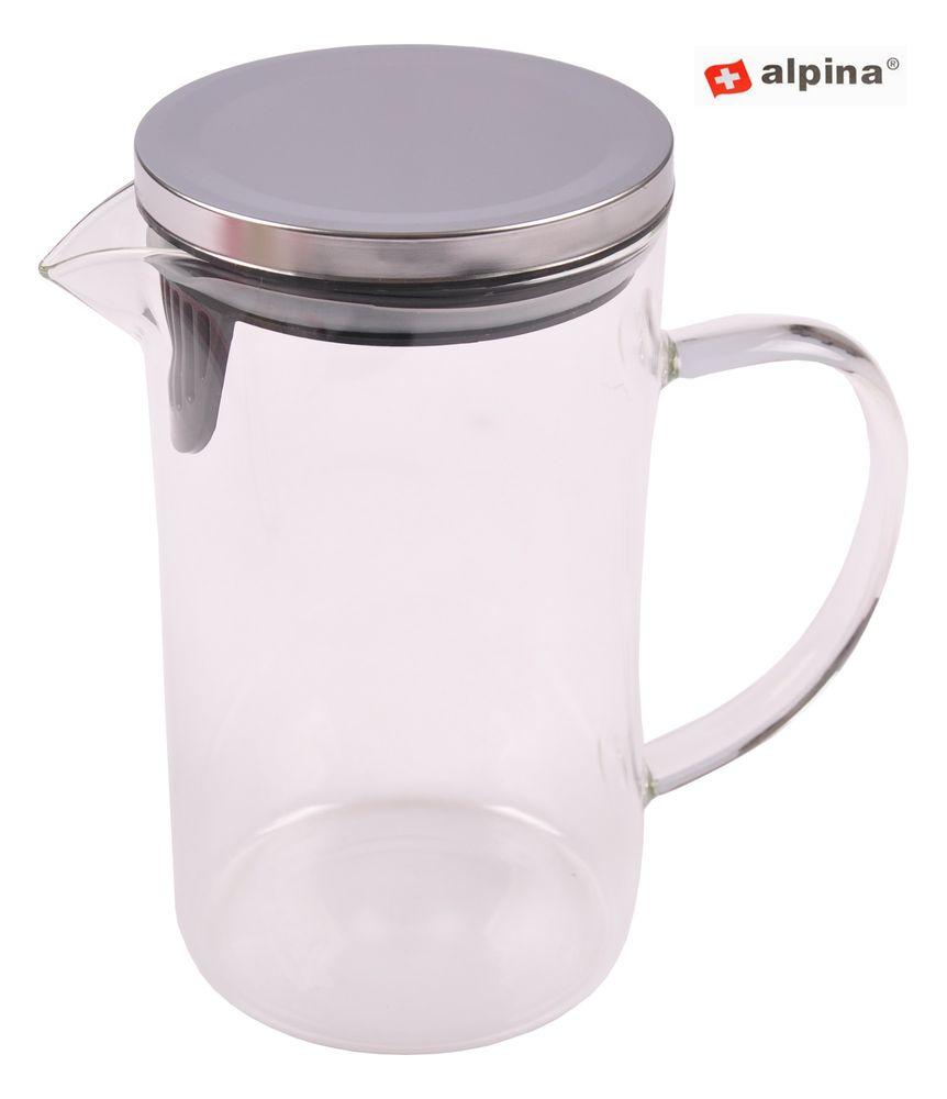 Alpina Glaskrug 1L mit Deckel Wasserkrug Saftkrug Saftkanne Wasserkanne Karaffe – Bild 1