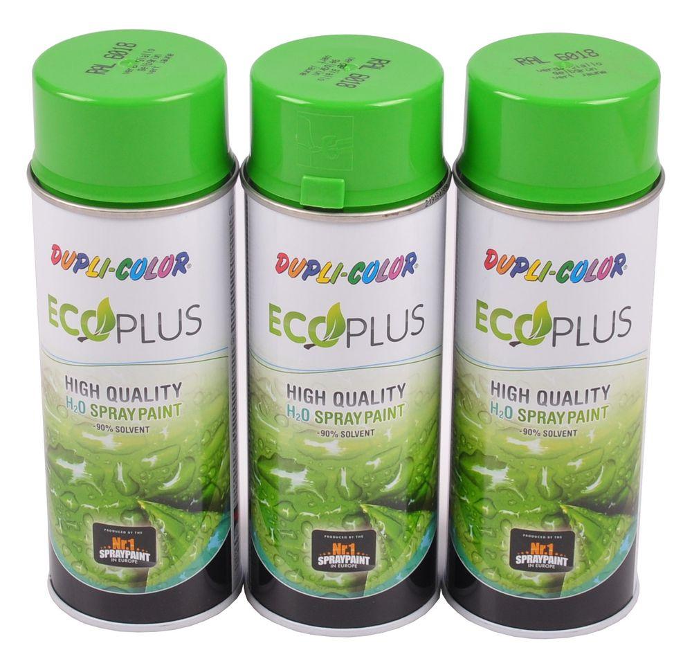 3x 400ml Dupli Color ECOPLUS Lackspray gelbgrün Farbspray Sprühlack Sprühdose – Bild 1