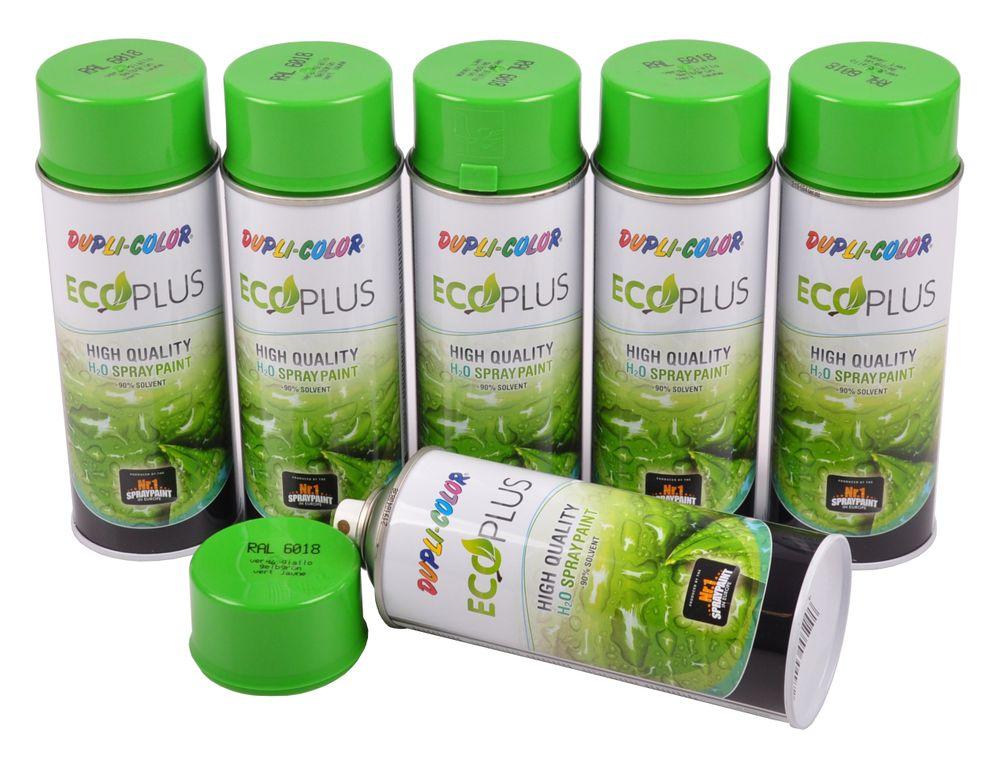 6x Dupli Color ECOPLUS Lackspray gelbgrün auf Wasserbasis Sprühlack Sprühdose – Bild 1