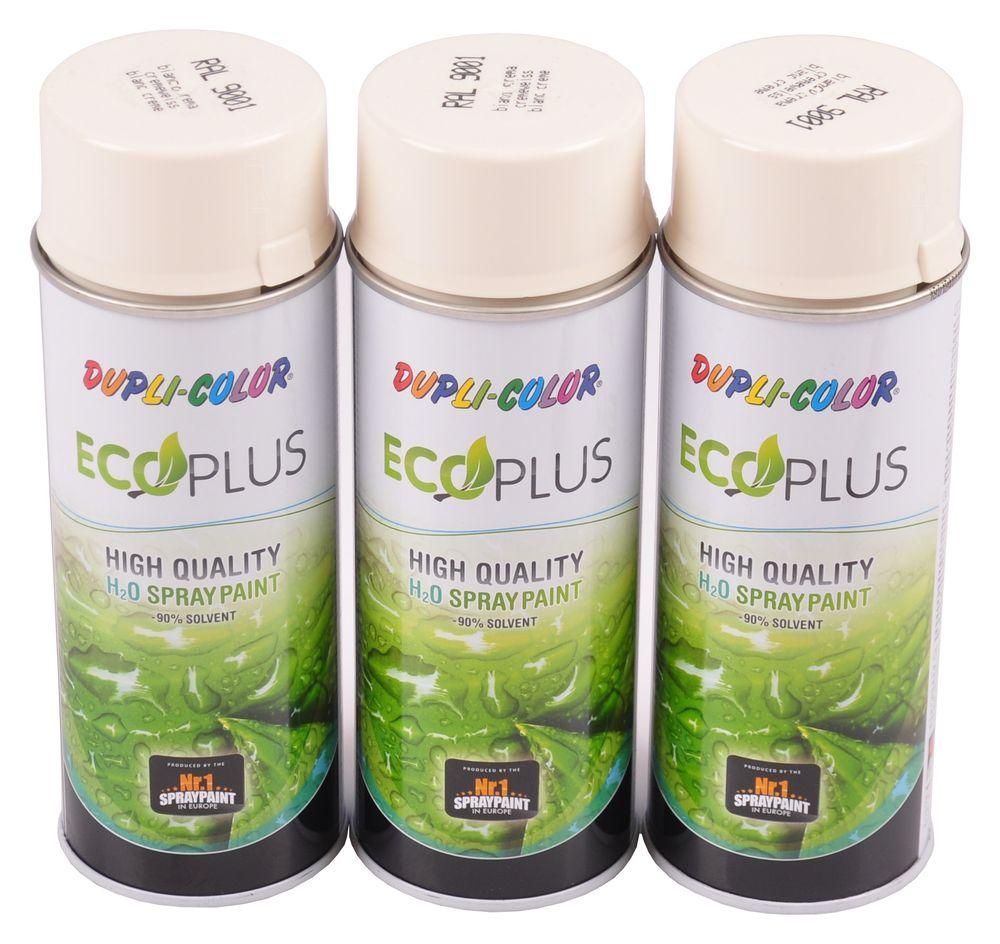 3x 400ml Dupli Color ECOPLUS Lackspray cremeweiß Farbspray Sprühlack Sprühdose – Bild 1