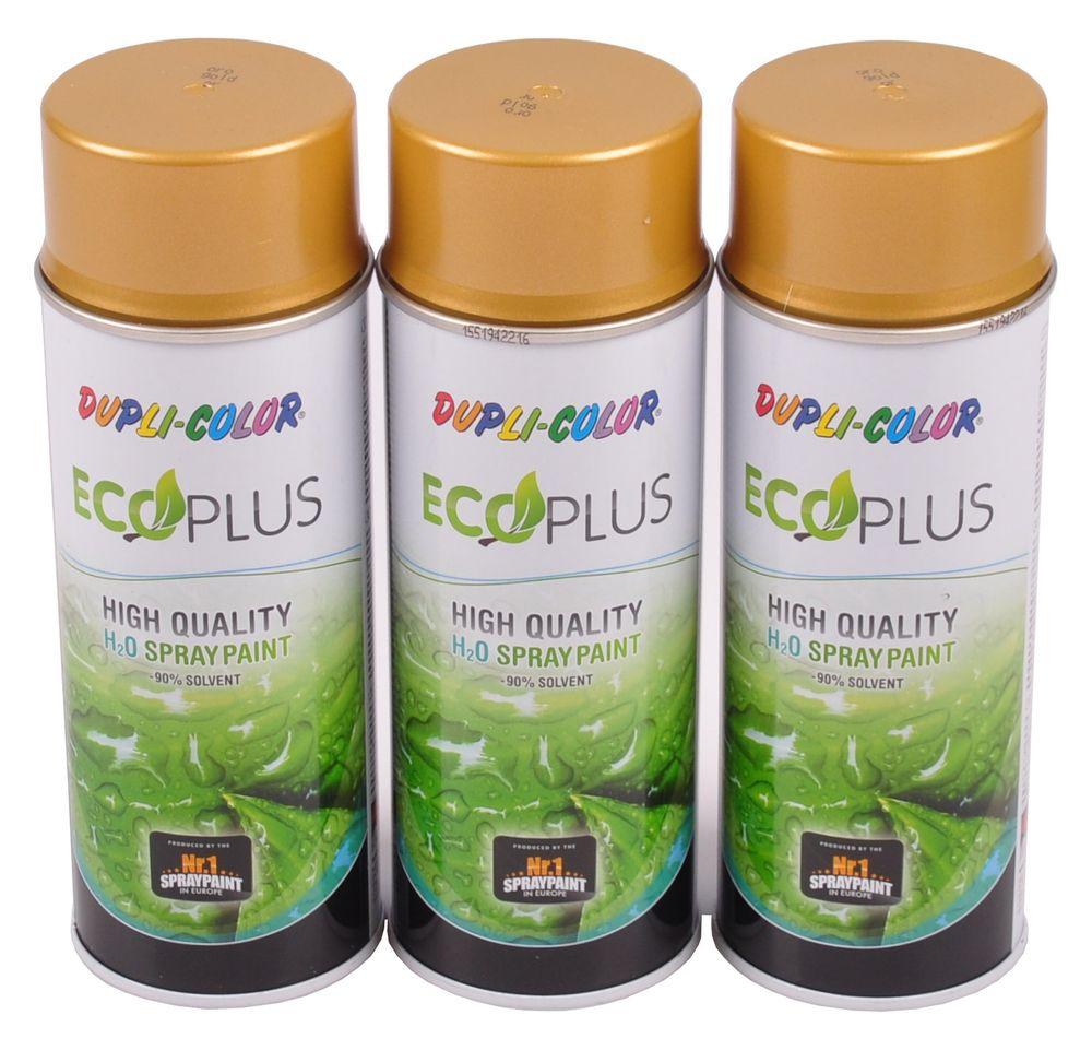 3x 400ml Dupli Color ECOPLUS Lackspray gold glanz Farbspray Sprühlack Sprühdose – Bild 1