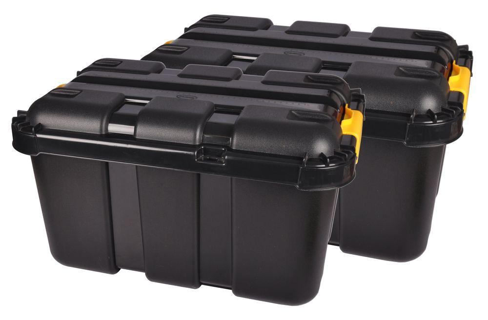 2x Werkstatt Box + Rollen 50 Liter Rollenbox Stapelbox Lagerbox Aufbewahrungsbox – Bild 1