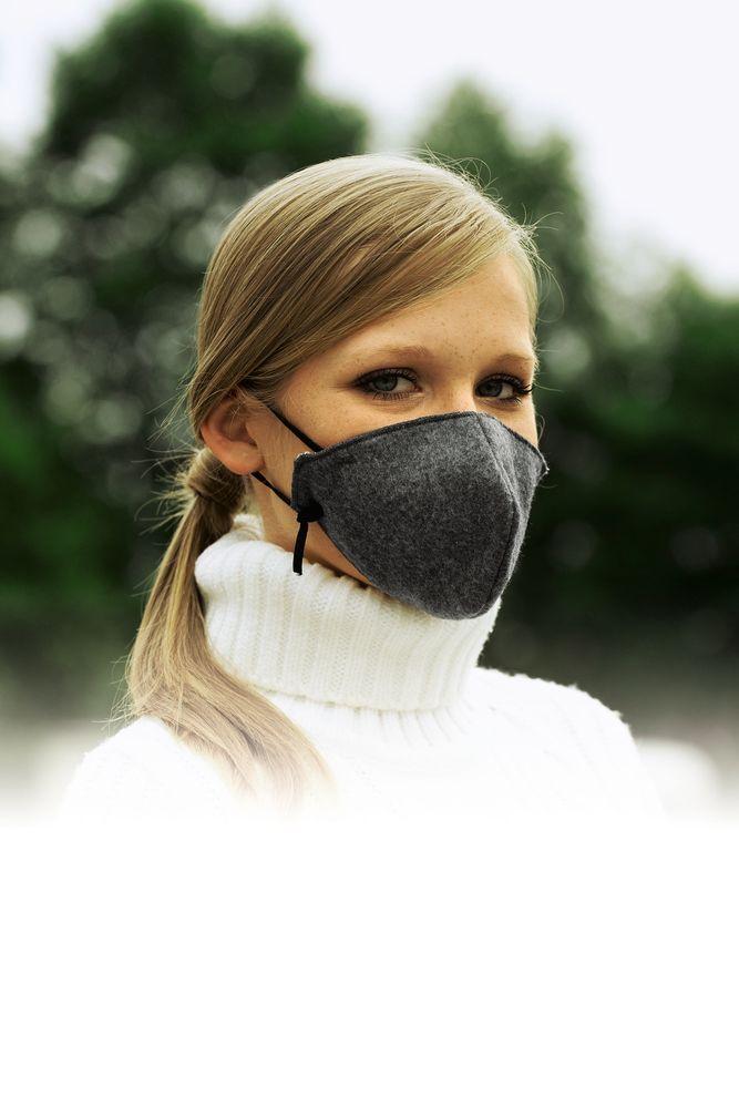 Kältemaske grau waschbar Atem Mund Staub Kälte Schmutz wiederverwendbar 3-lagig