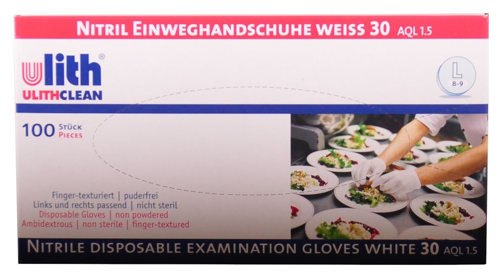 Nitril-Einweghandschuhe Gr.L (8-9) weiß 100 St. Schutzhandschuhe Gummihandschuhe – Bild 2