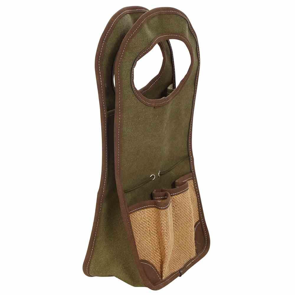 Gartengerätetasche Sussex, aus grünem Segeltuch mit Juteapplikationen 17x9,5x32cm, mit 3 Taschen