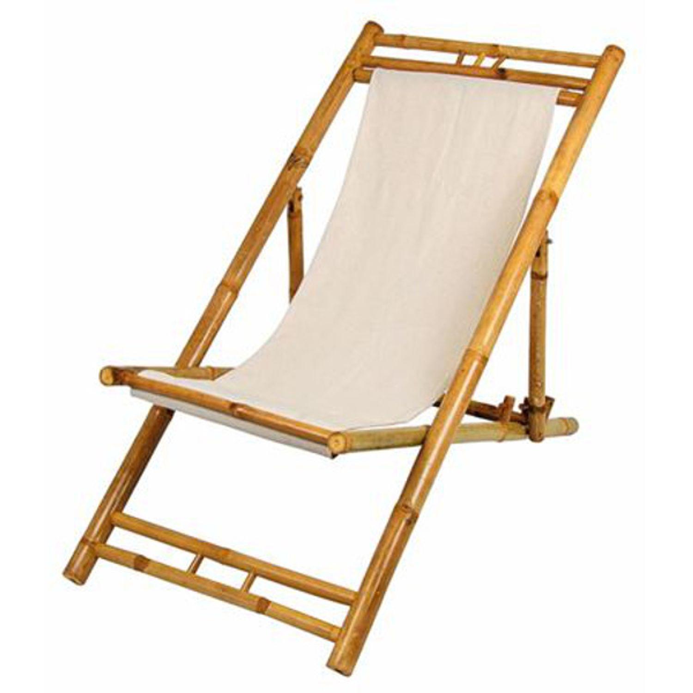 Bambus Relax Liegestuhl Beige Strandstuhl Terrassenliege Gartenstuhl