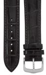 Uhrenarmband 18 mm Leder dunkelbraun, Kroko-Optik, Länge 75x115mm, Aluminium-Dornschließe