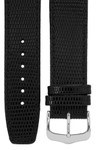Uhrenarmband, 20 mm, Leder, schwarz, Eidechsen-Optik, Länge 75x115mm, Aluminium-Dornschließe