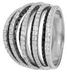 Carlo Monti Ring 925/- Sterling Silber rhodiniert, 72 schwarze und 123 weiße Zirkonia, rund  (20 schwarz rund 1,2mm, 16 schwarz rund 1,3mm, 16 schwarz rund 1,4mm, 20 schwarz rund 1,5mm, 40 weiß rund 0,9mm, 12 weiß rund 1,0mm, 16 weiß rund 1,1mm, 20 weiß rund 1,4mm, 35 weiß rund 1,5mm)