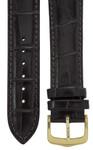 Uhrenarmband 21 mm Leder dunkelbraun, Kroko-Optik, Länge 75x115mm, Aluminium IP gold-Dornschließe
