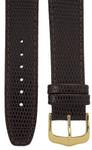Uhrenarmband 18 mm Leder dunkelbraun, Eidechsen-Optik, Länge 75x115mm, Aluminium IP gold-Dornschließe