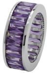 Carlo Monti Ring 925/- Sterling Silber rhodiniert, Memoire-Ring, 24 lila Zirkonia im Baguette-Schliff facettiert, rundum gefasst, Ringgröße 17,2mm Innendurchmesser