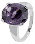 Carlo Monti Ring 925/- Sterling Silber rhodiniert, 1 lila Zirkonia 12x15mm oval überfacettiert, in Krappenfassung, Ringgröße 17,2mm Innendurchmesser