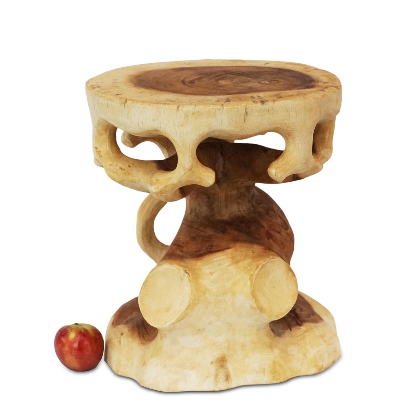 Saman-Holz Rundhocker Natur Möbel ca. 40 cm Blumenhocker Holzhocker Massiv Unikat Beistelltisch Ablagetisch – Bild 2