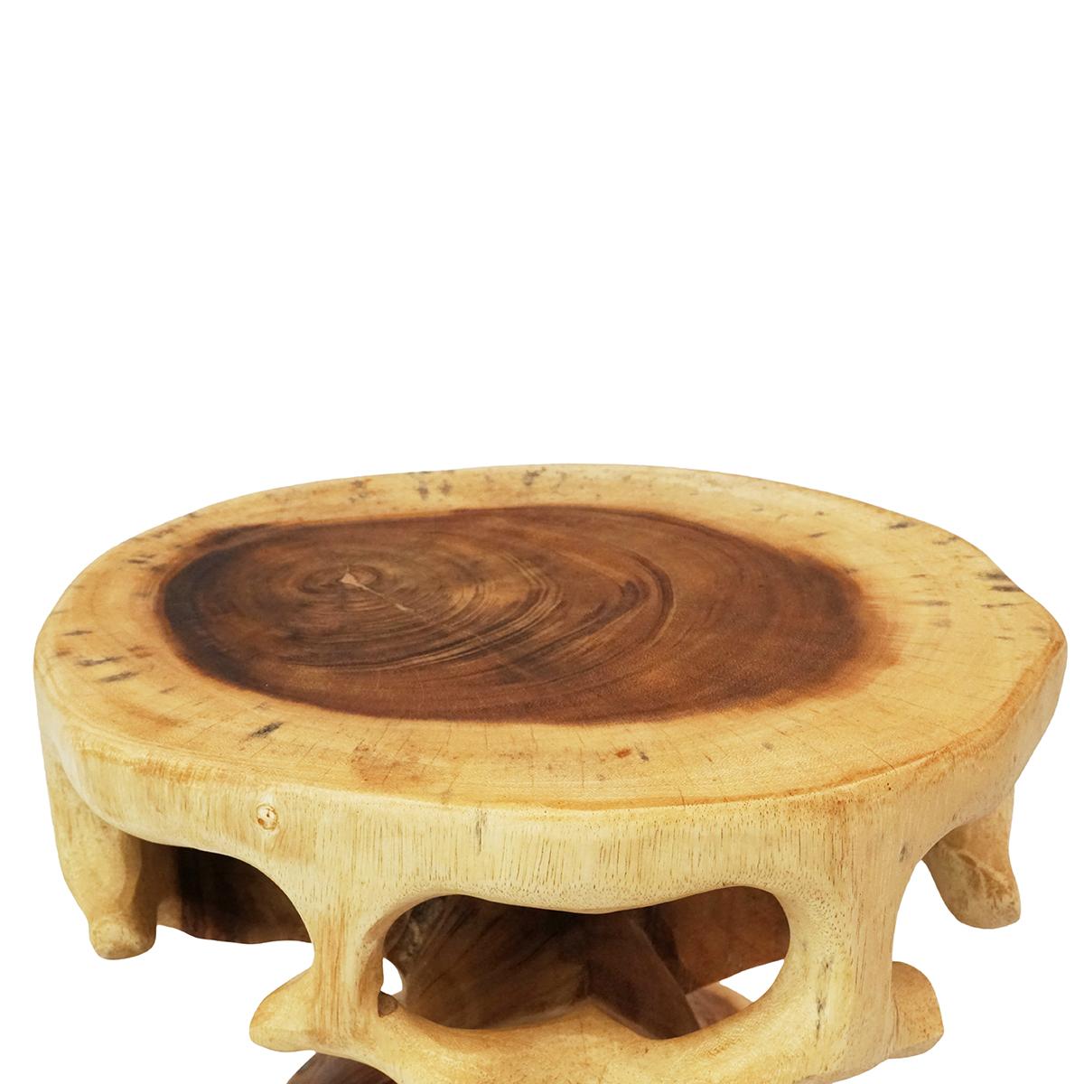 Saman-Holz Rundhocker Natur Möbel ca. 40 cm Blumenhocker Holzhocker Massiv Unikat Beistelltisch Ablagetisch – Bild 3