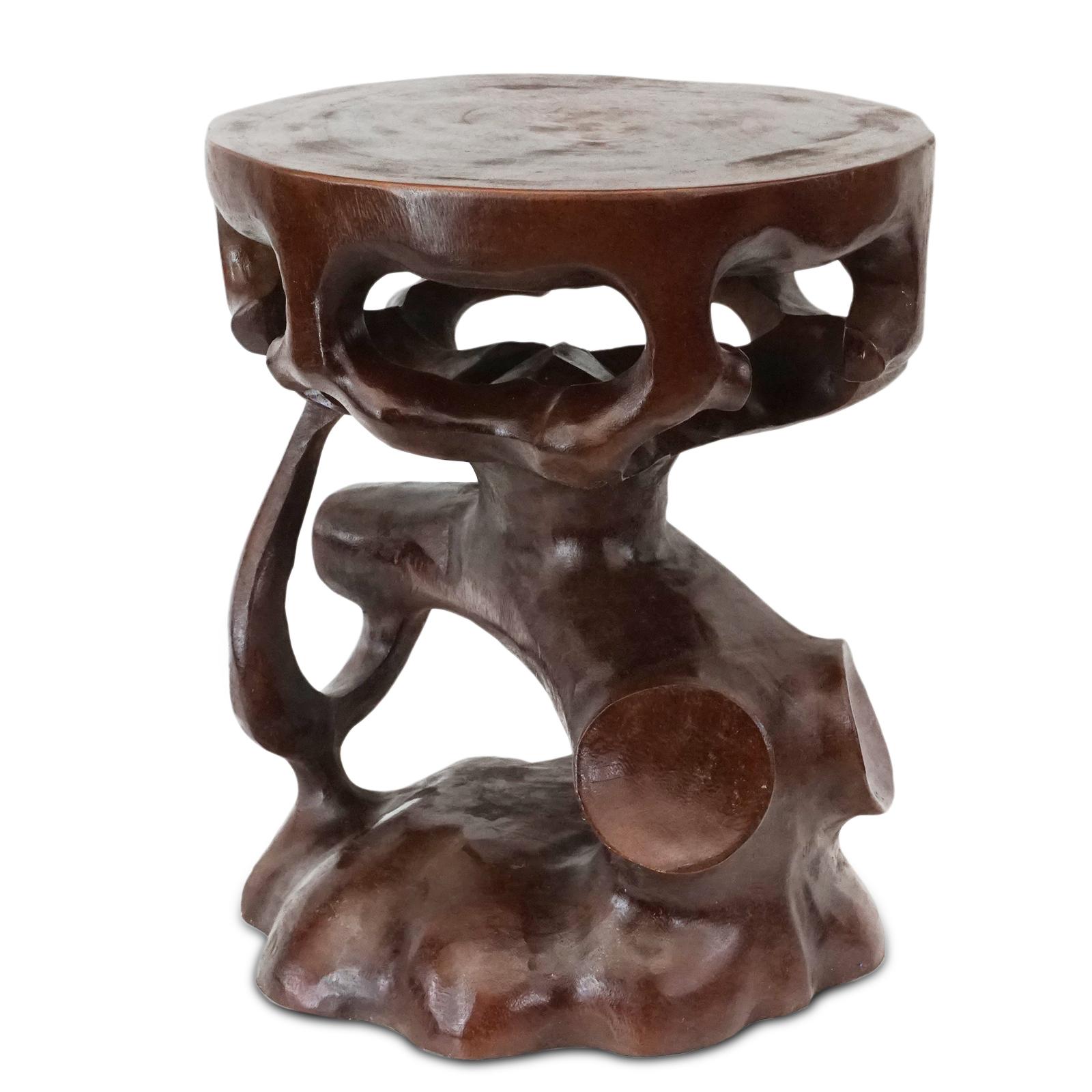 Saman-Holz Rundhocker Möbel ca. 40 cm Blumenhocker Holzhocker Massiv Unikat Beistelltisch Dunkel Braun – Bild 4