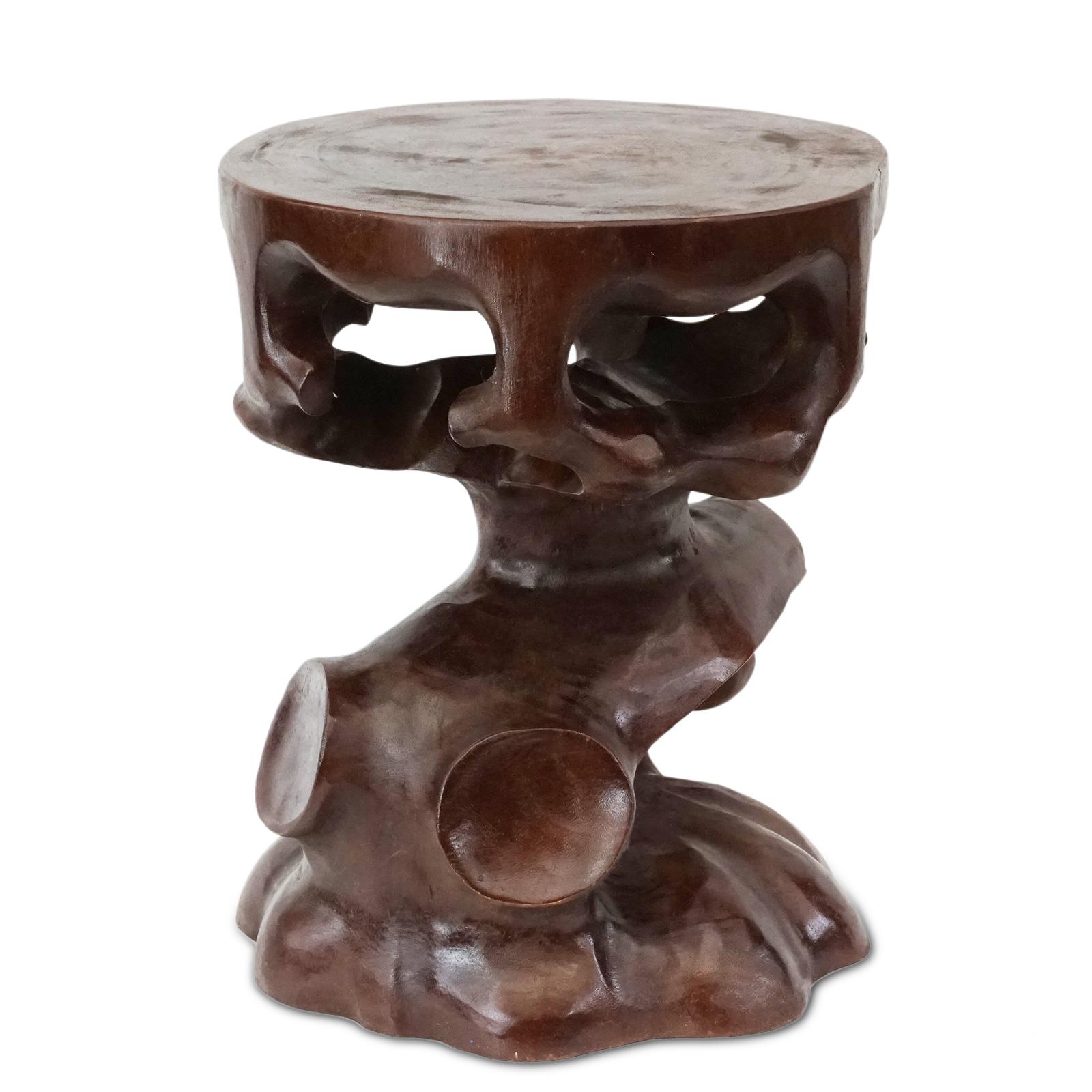 Saman-Holz Rundhocker Möbel ca. 40 cm Blumenhocker Holzhocker Massiv Unikat Beistelltisch Dunkel Braun – Bild 6