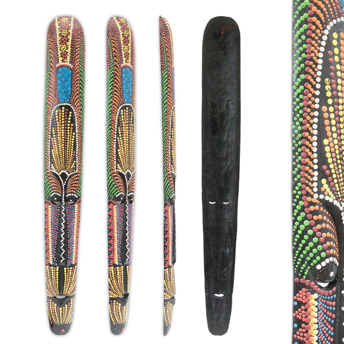 Wandmaske Punktmalerei Schnitzerei Exotische Holzmaske Wanddekoration Australisch Bunt – Bild 3