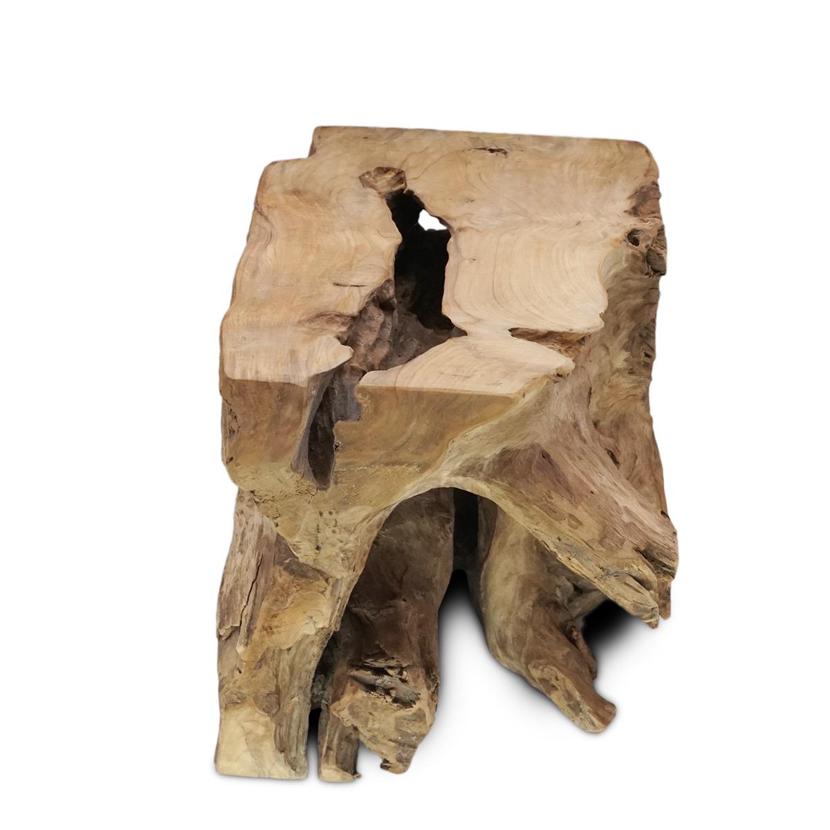 Couchtisch Wohnzimmertisch Natur Block Massiv ca. 40 cm Wurzelholz Teakholz – Bild 3