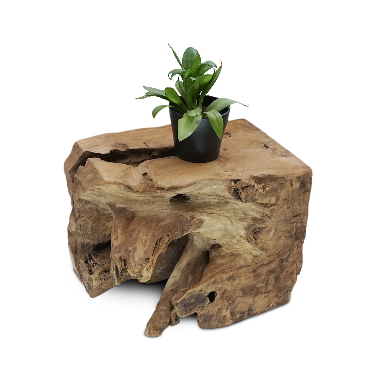 Couchtisch Wohnzimmertisch Natur Block Massiv ca. 40 cm Wurzelholz Teakholz – Bild 1