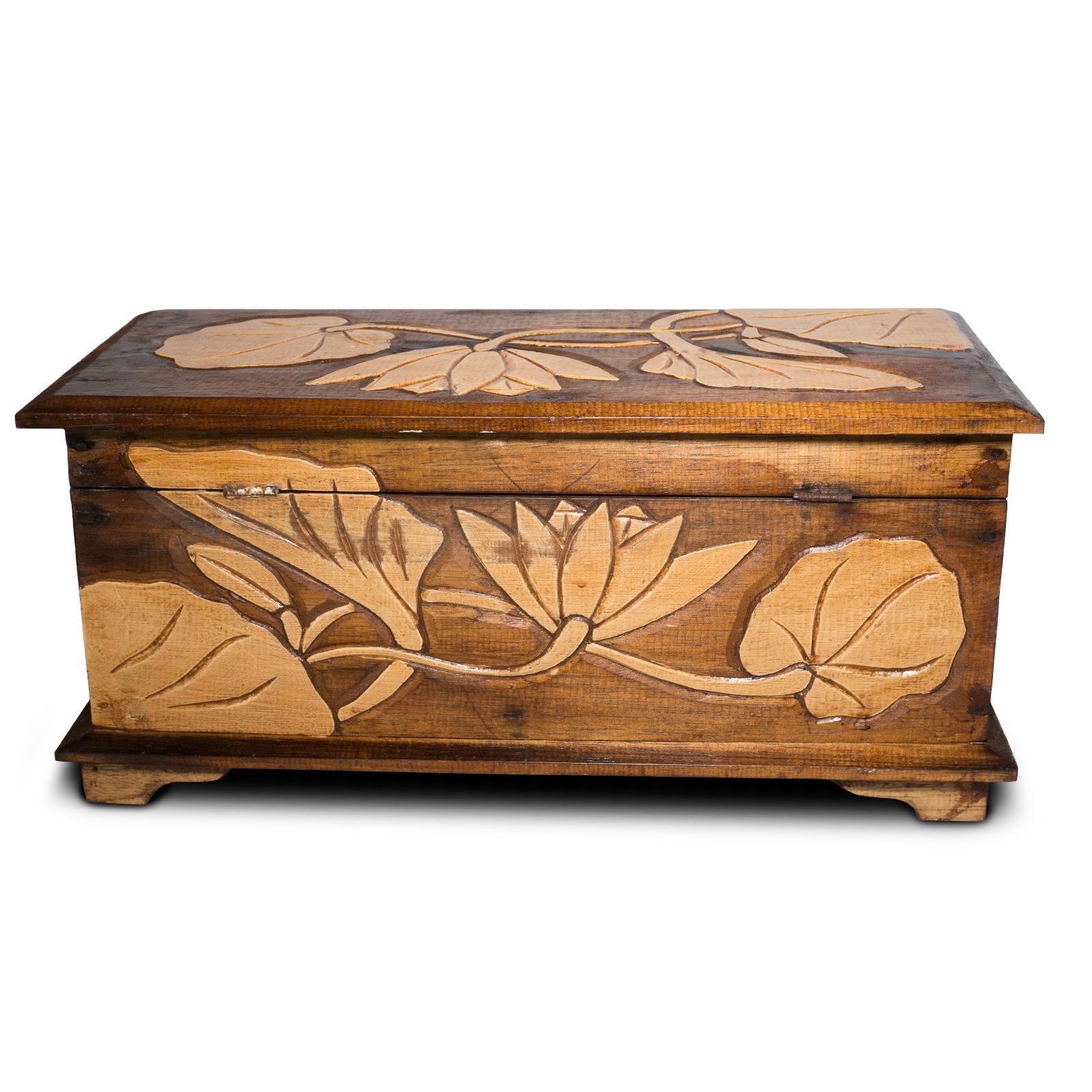 Holz Truhe Blume Verzierung 40 - 60cm, Schatztruhe, Schatzkiste, Box, Holzbox, Schnitzerei Braun – Bild 6