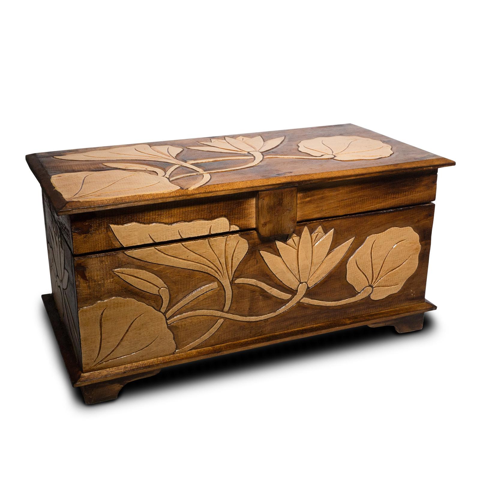 Holz Truhe Blume Verzierung 40 - 60cm, Schatztruhe, Schatzkiste, Box, Holzbox, Schnitzerei Braun – Bild 8