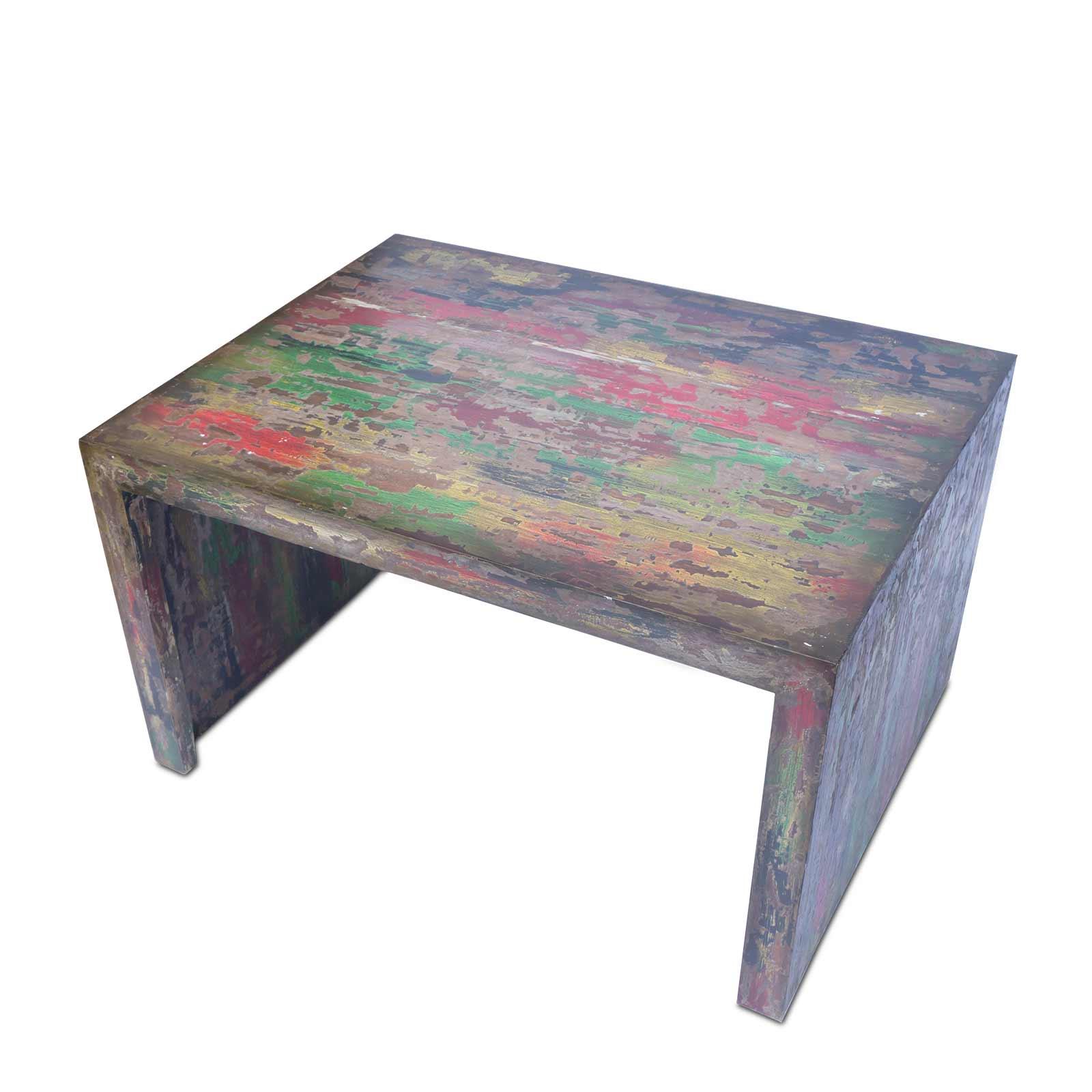 Couchtisch 80cm x 60cm x 45cm Wohnzimmer Holztisch Holzmöbel Vintage Holz bunt