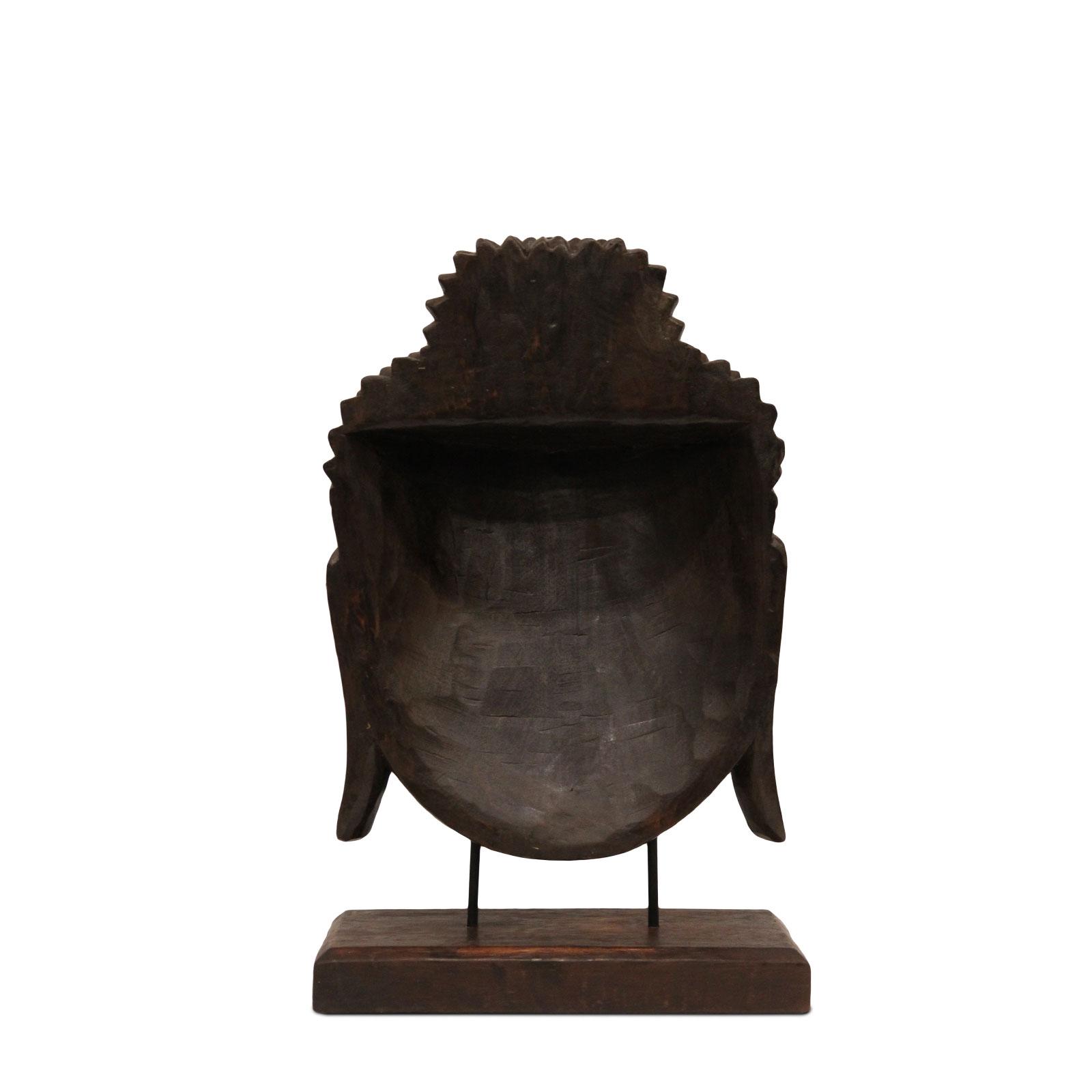 Buddha Relief ca. 50cm – Kopf Skulptur Maske auf Sockel Ständer Deko Statue Figur Albasia Holz braun – Bild 5