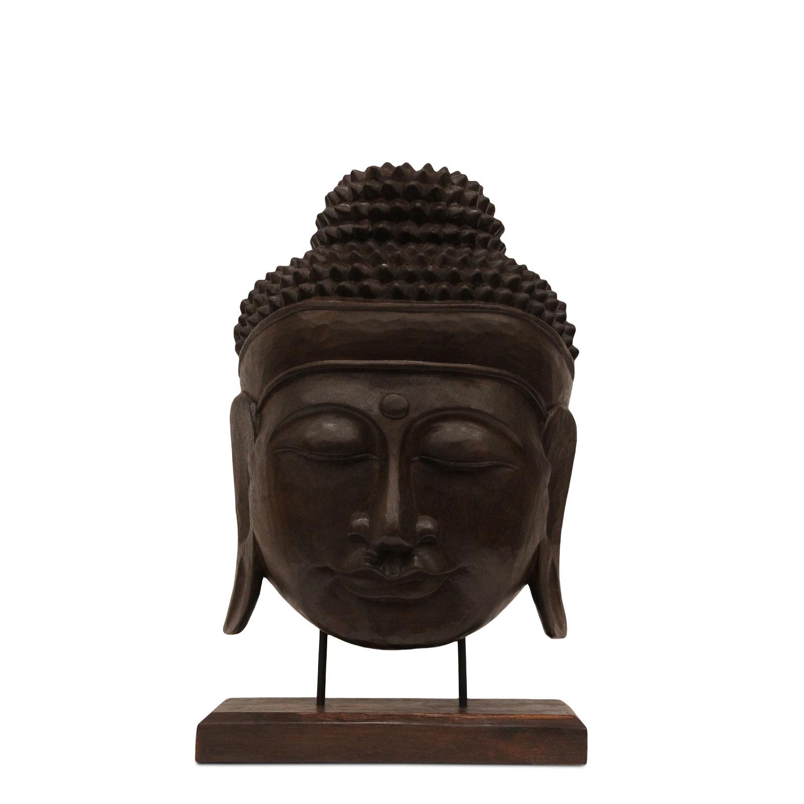 Buddha Relief ca. 50cm – Kopf Skulptur Maske auf Sockel Ständer Deko Statue Figur Albasia Holz braun – Bild 2