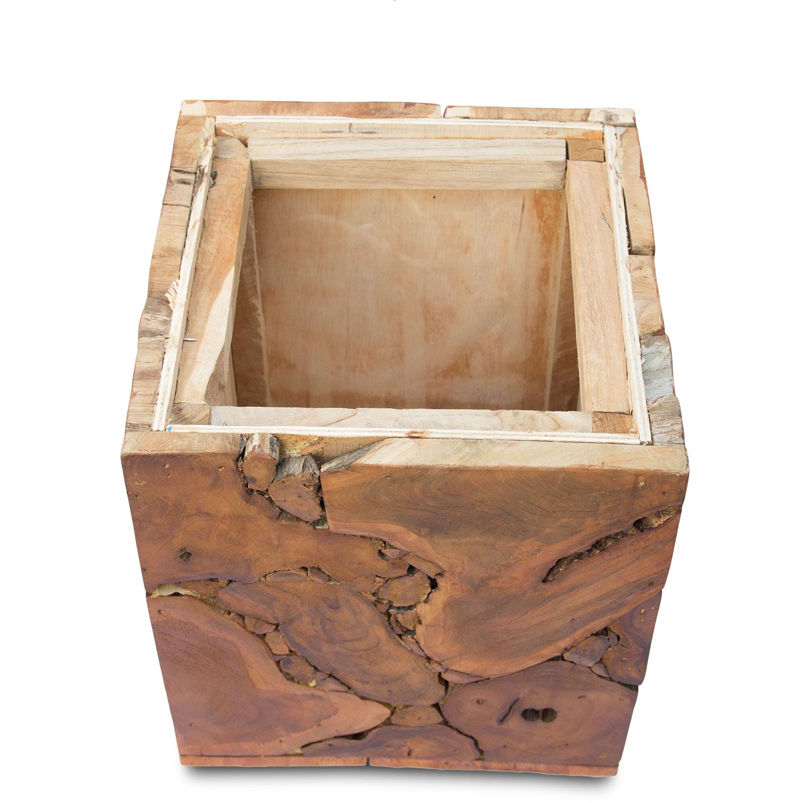 Nachttisch Beistelltisch Couchtisch Ablagetisch ca. 40x40 cm Mosaik Natur Holz – Bild 5