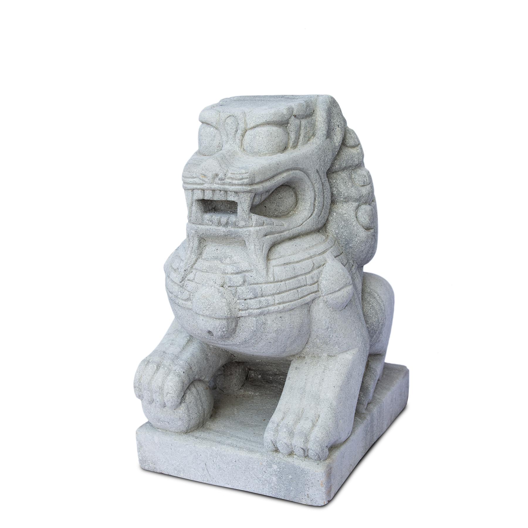Fu Hund Wächterlöwe Skulptur Tempelwächter Rechts ca. 64 cm Wetterfest Stein-Gemisch massiv Grau – Bild 1