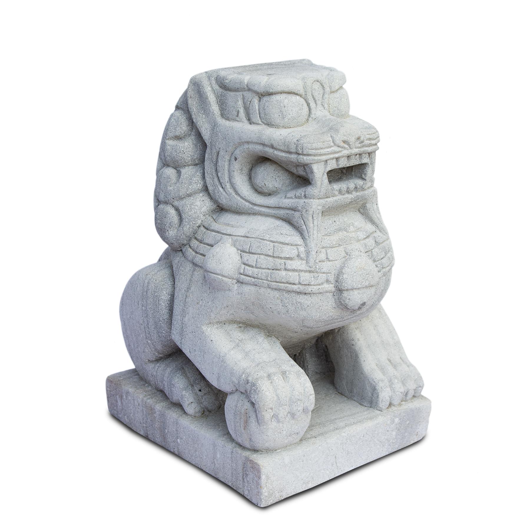 Fu Hund Wächterlöwe Skulptur Tempelwächter Rechts ca. 64 cm Wetterfest Stein-Gemisch massiv Grau – Bild 3